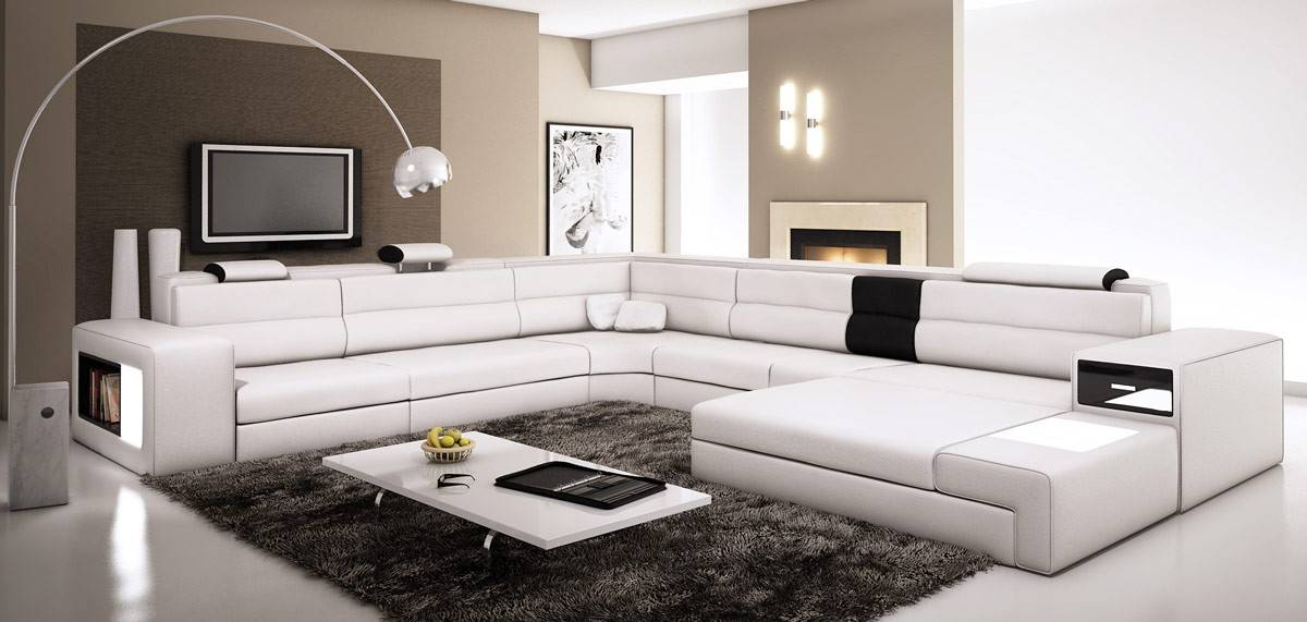 extra large leather sectional sofa with attached corner table