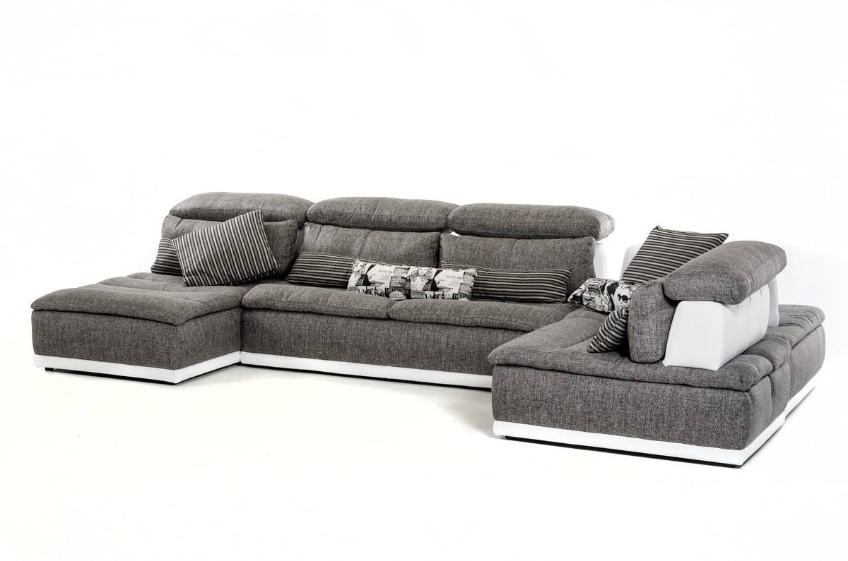 Made In Italy Grey Fabric And White Leather Sectional Sofa El Paso - Gray leather sectional sofas