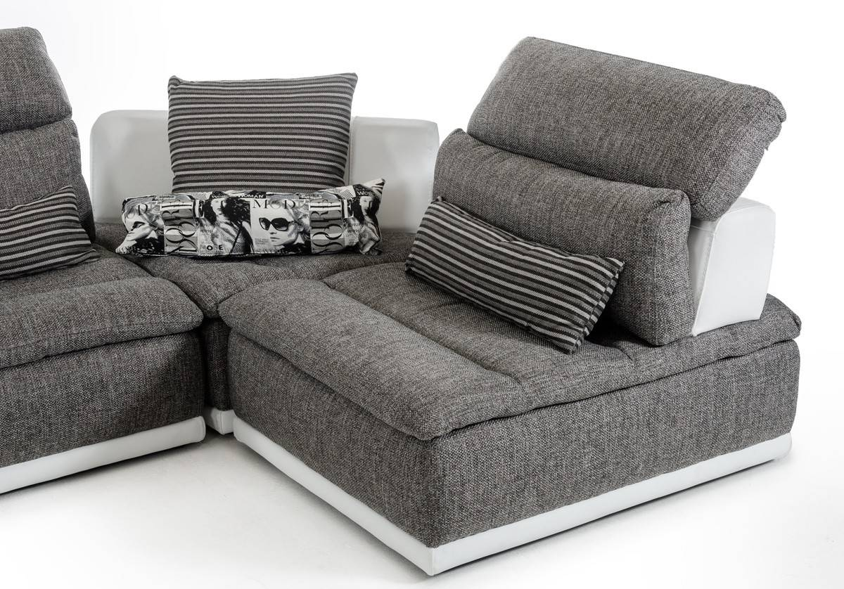 Made In Italy Grey Fabric And White Leather Sectional Sofa