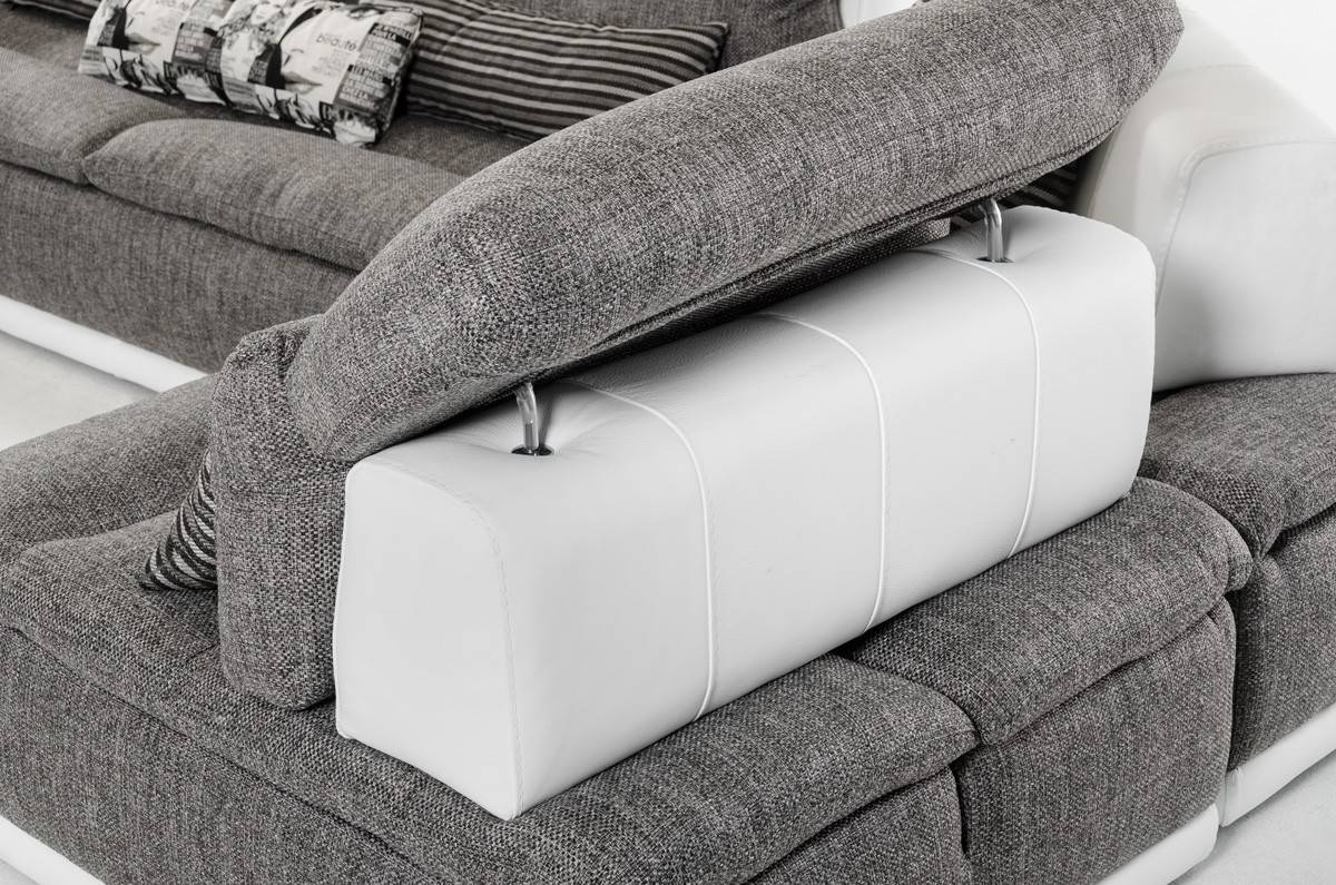 Made in Italy Grey Fabric and White Leather Sectional Sofa El Paso