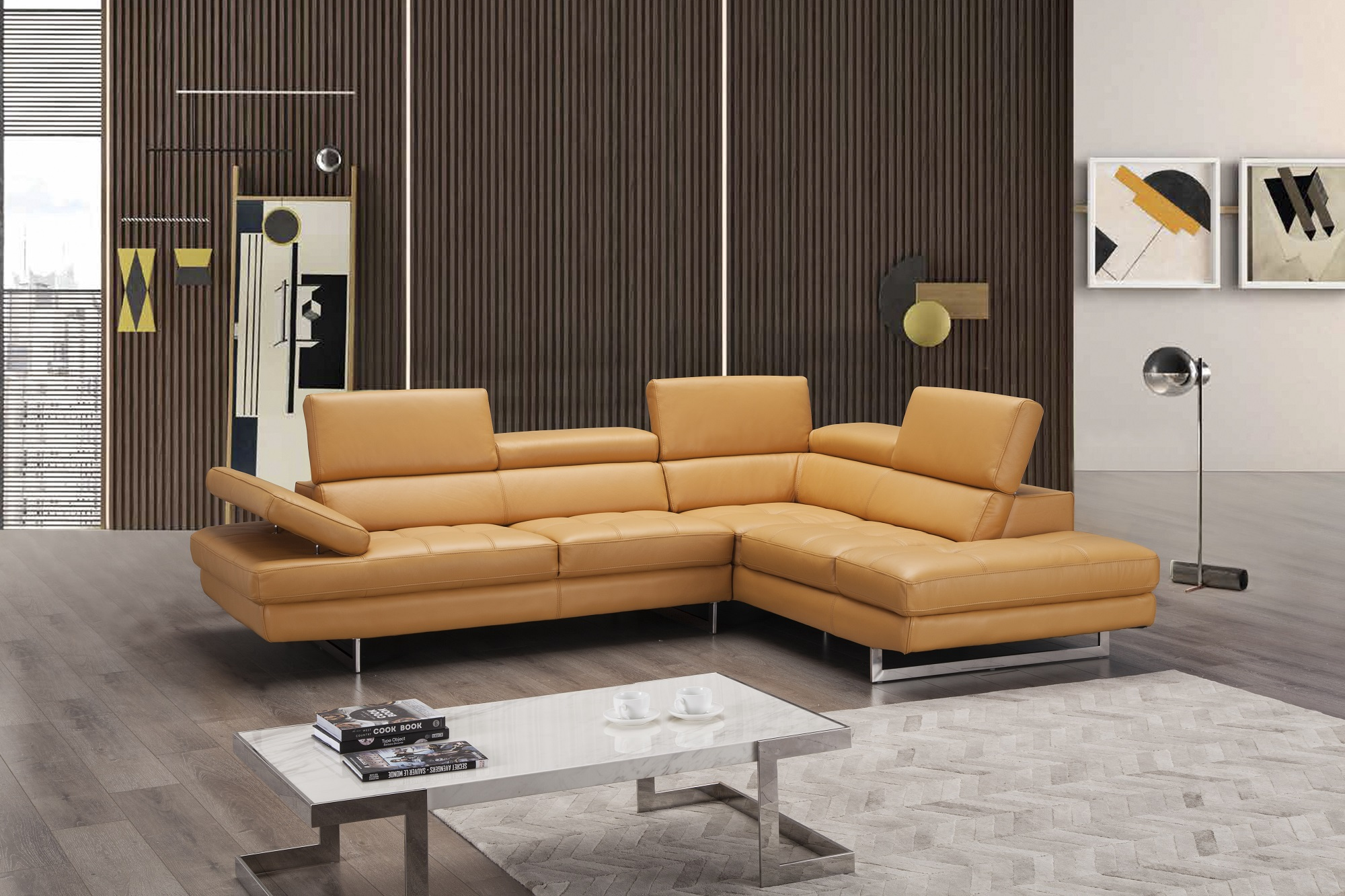 Elegant Modern Leather L-shape Sectional