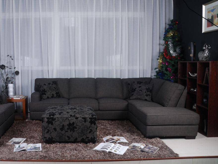 Dark Grey Fabric Sectional Sofa With Floral Print Throw