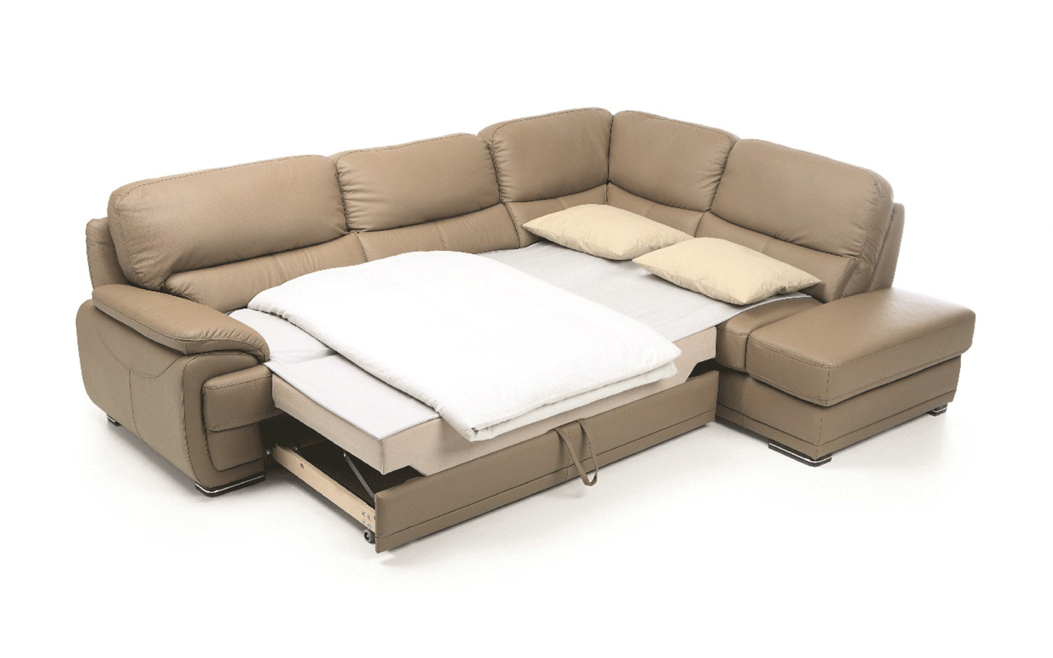 Real Leather Sectional Sleeper with Pull Out Bed Kansas ...