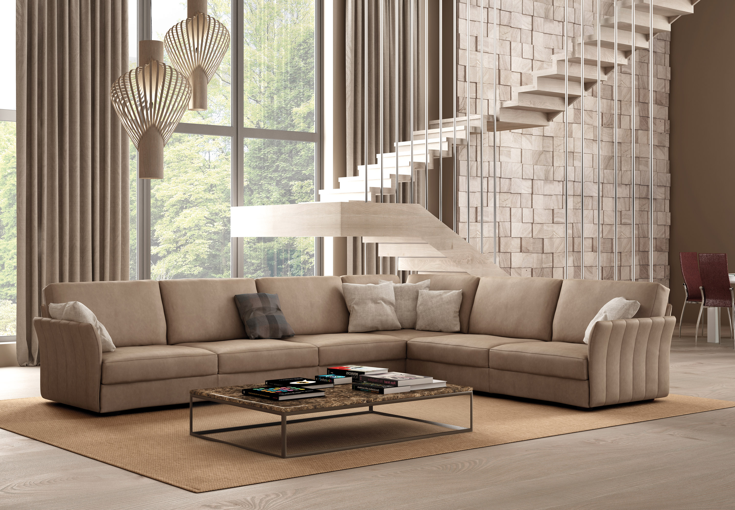 Italian Sectional Sofa Set in Luxury Leather Fort Worth Texas IDP