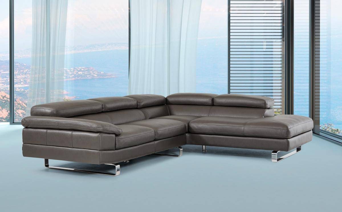 Dark Grey Top Grain Leather Sectional Sofa With Motion Headrest