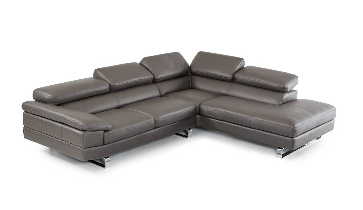 Dark Grey Top Grain Leather Sectional Sofa With Motion