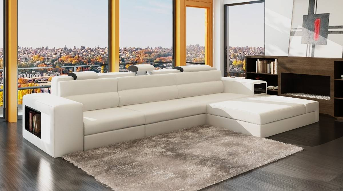 genuine leather sectional sofa in white small apartment