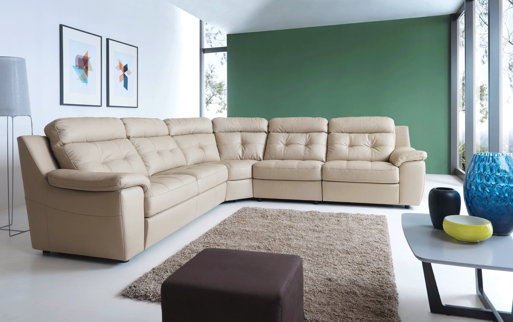 High End Curved Sectional Sofa In Leather Lexington