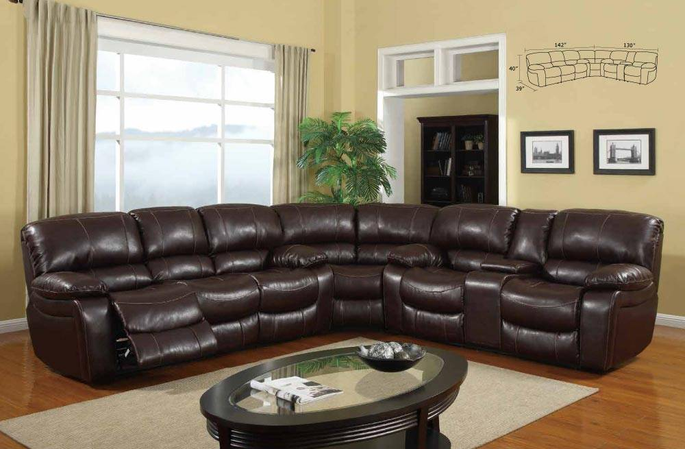 contemporary overstuffed brown upholstered sectional sofa with recliner p