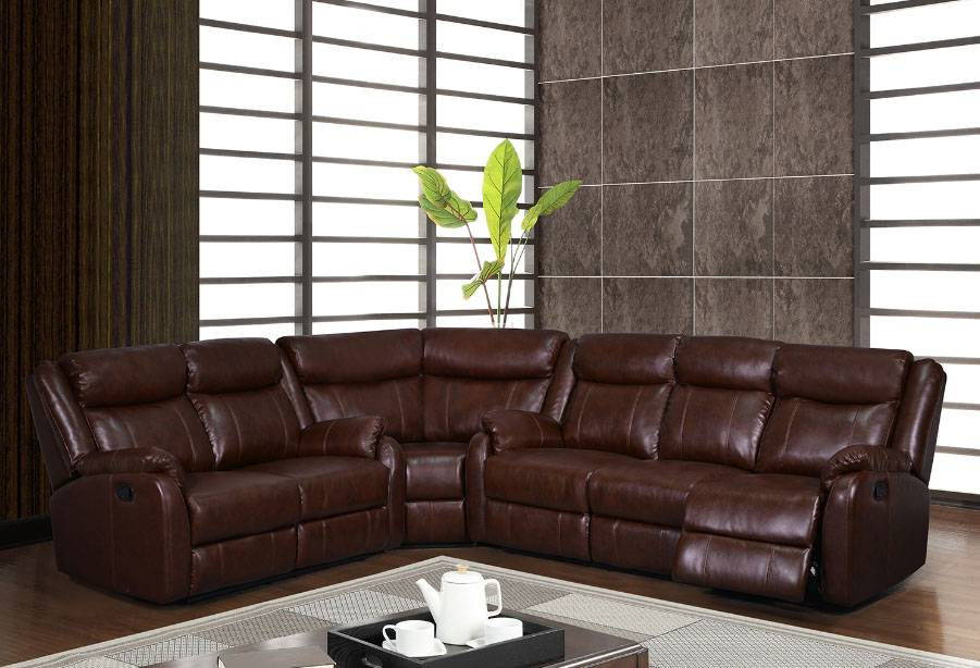Traditional brown or burgundy sectional with reclining for Traditional sectional