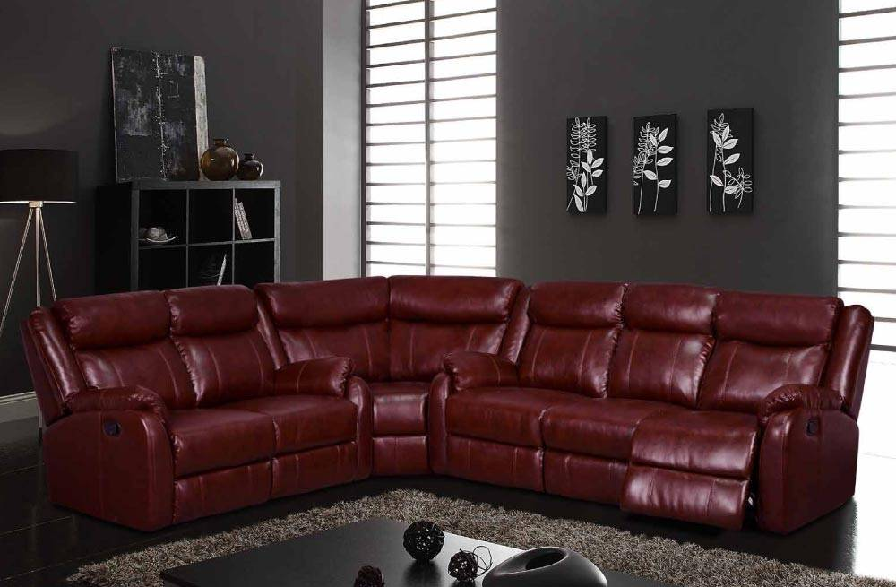 Traditional Brown Or Burgundy Sectional With Reclining Function Fort Worth Texas Gf9303