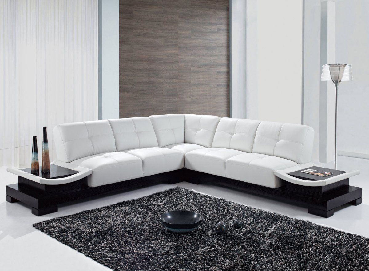 Large u and l leather sectionals corner modern design couch for Sectional sofa end tables