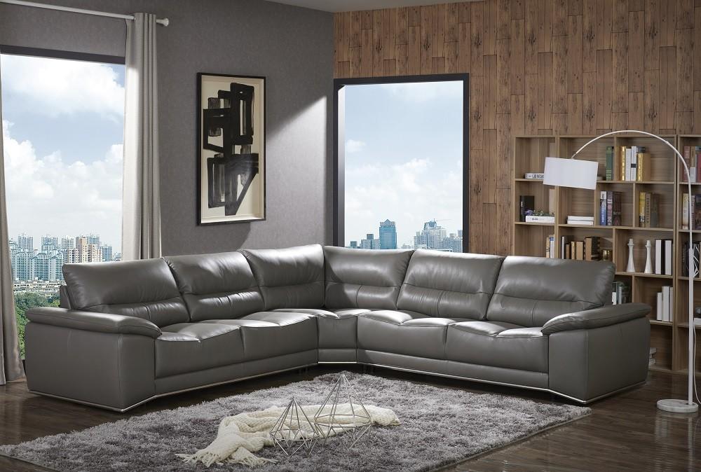 Graceful Leather Corner Sectional Sofa Chula Vista