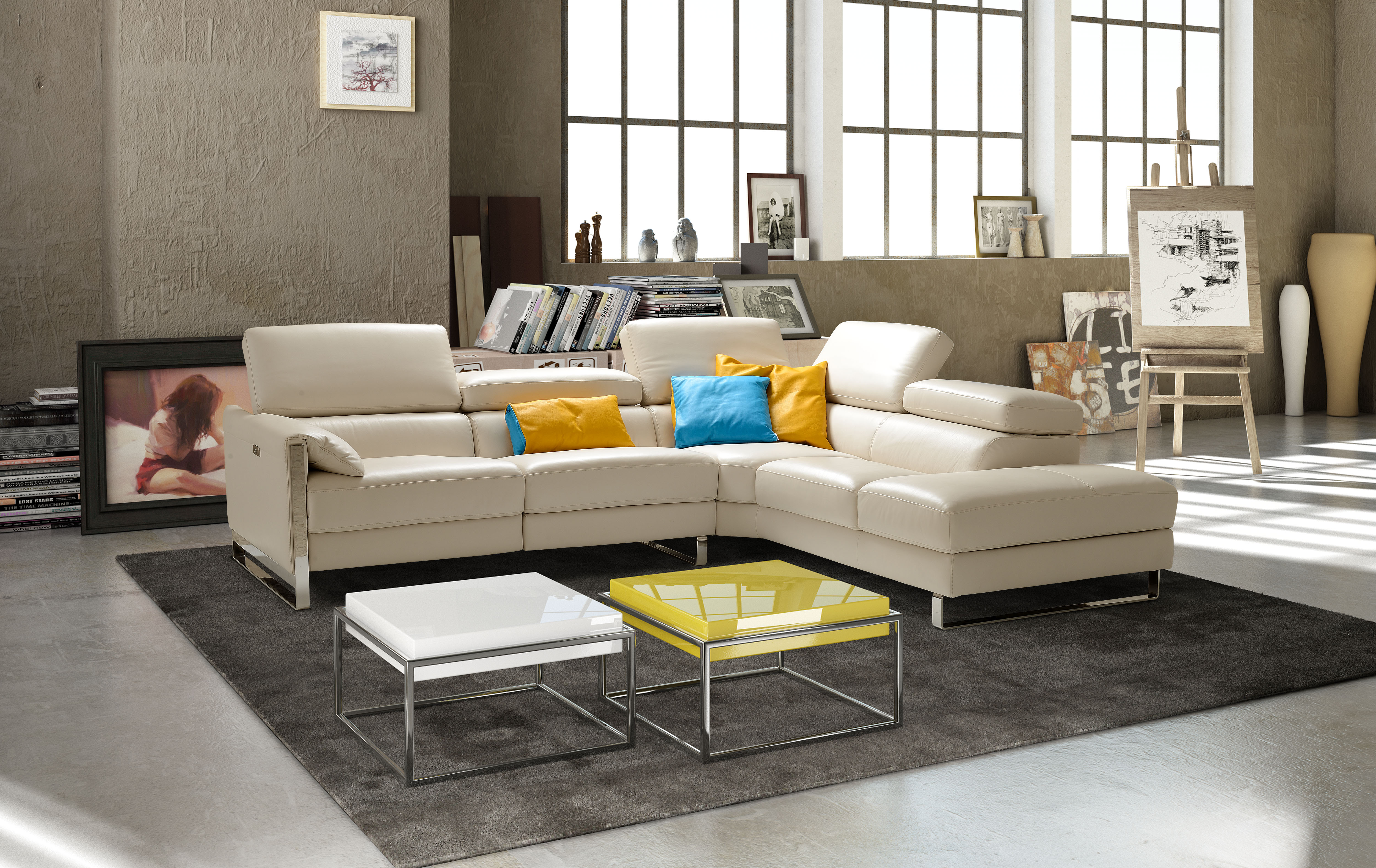 Sophisticated Modern Leather L shape Sectional Durham North