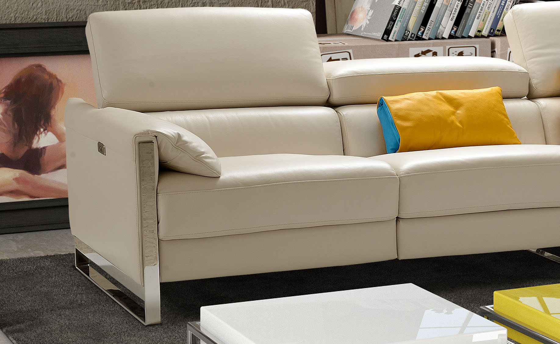 Sophisticated Modern Leather L-shape Sectional Durham