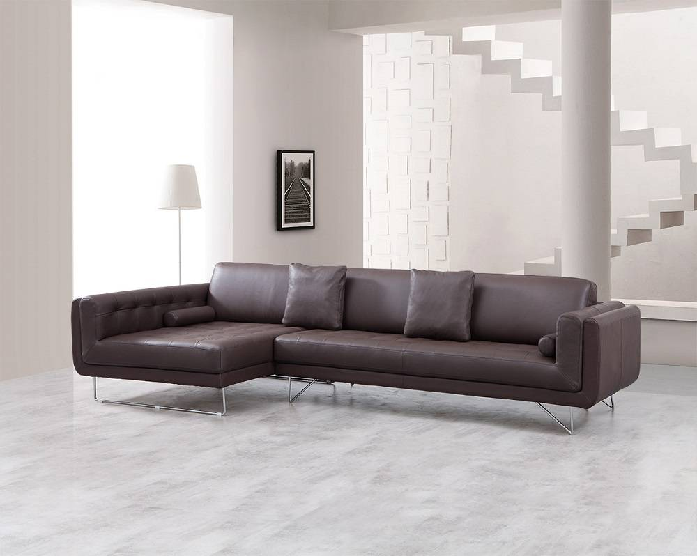 Luxury Leather Ottoman ~ Luxury leather corner sectional sofa with pillows