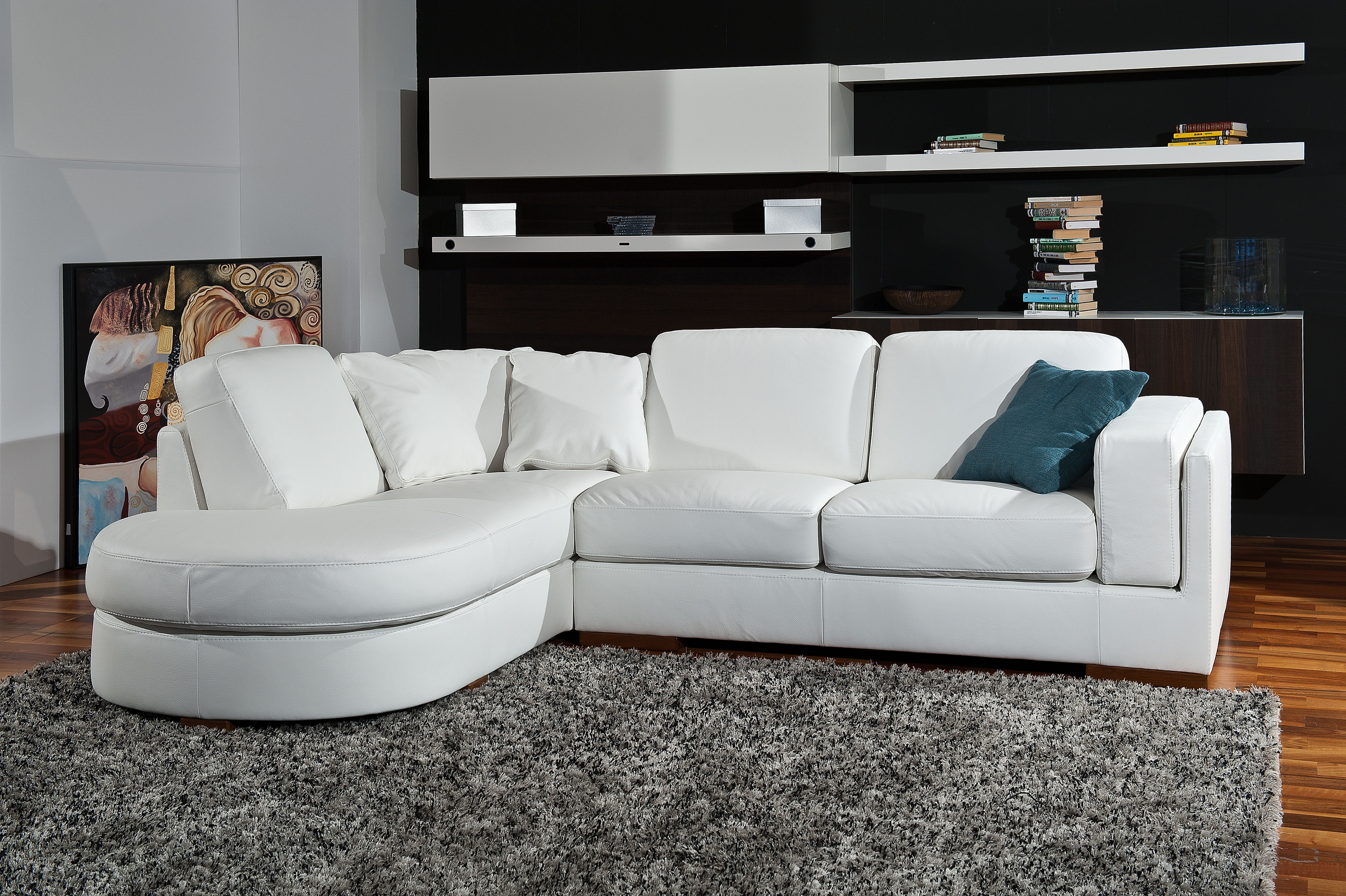 Luxury Leather Curved Corner Sofa With Pillows Phoenix