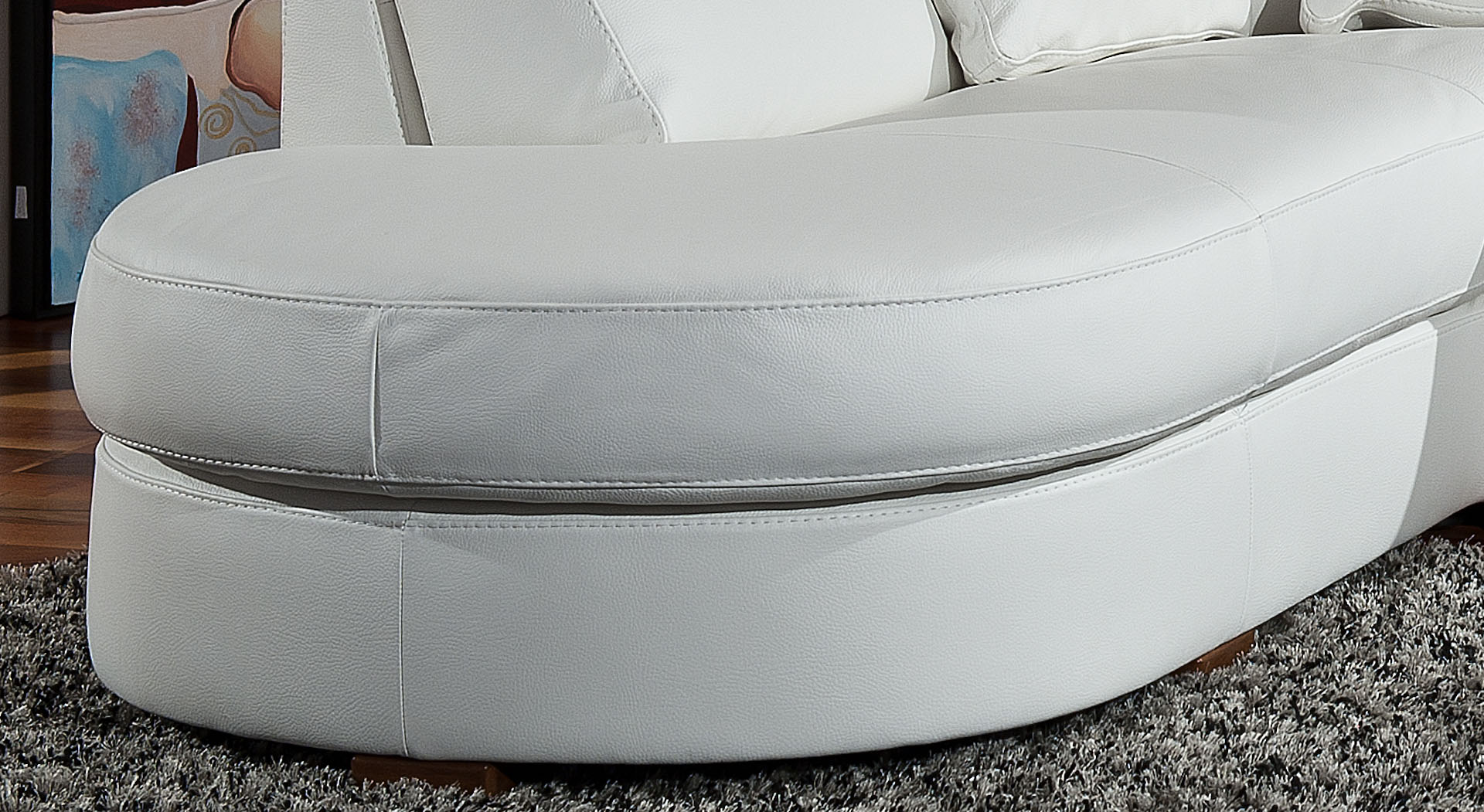 Luxury Leather Curved Corner Sofa with Pillows - Click Image to Close