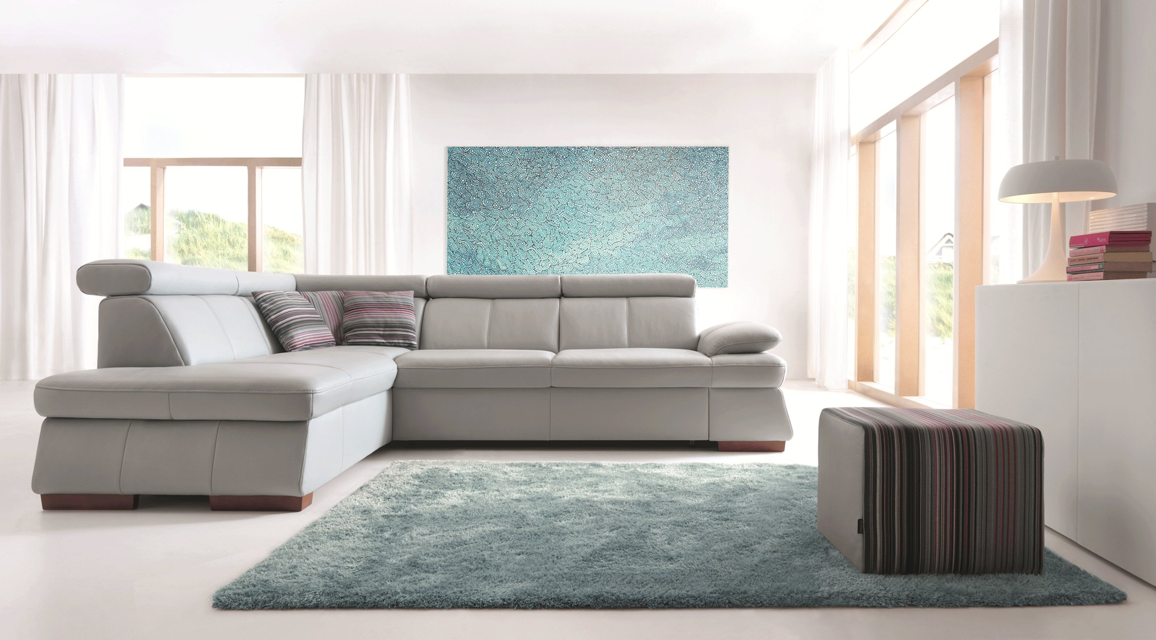 Italian Leather Sleeper Sectional with Storage and Motion Heads