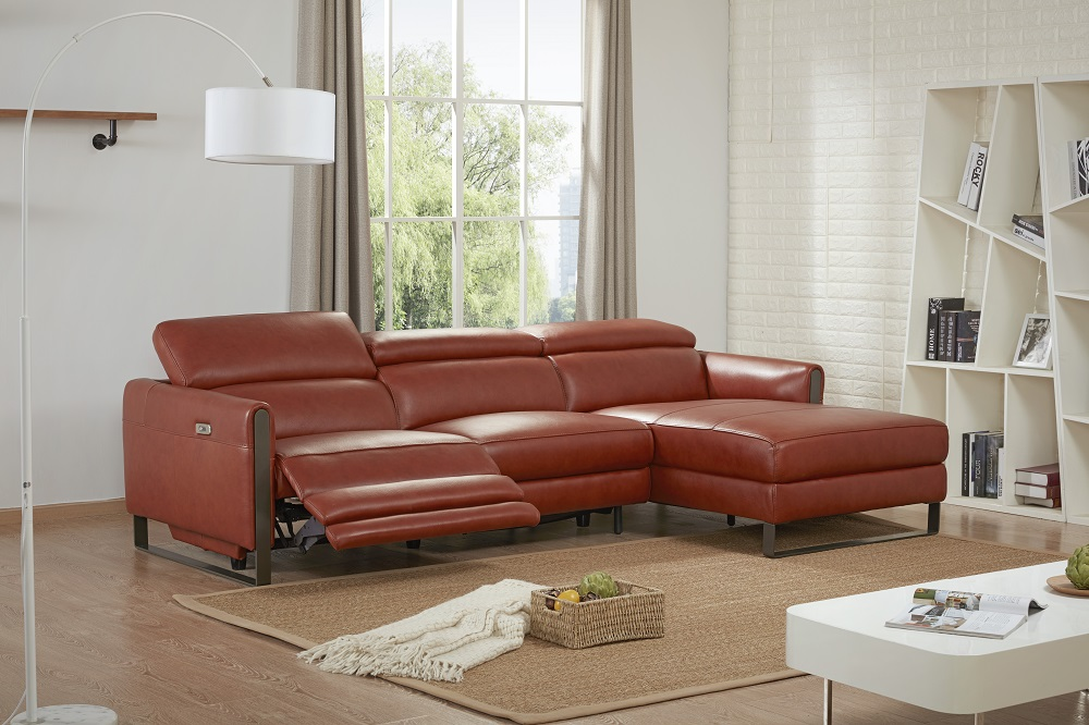 Genuine And Italian Leather Corner Sectional Sofas Contemporary Style L Shape Sofa