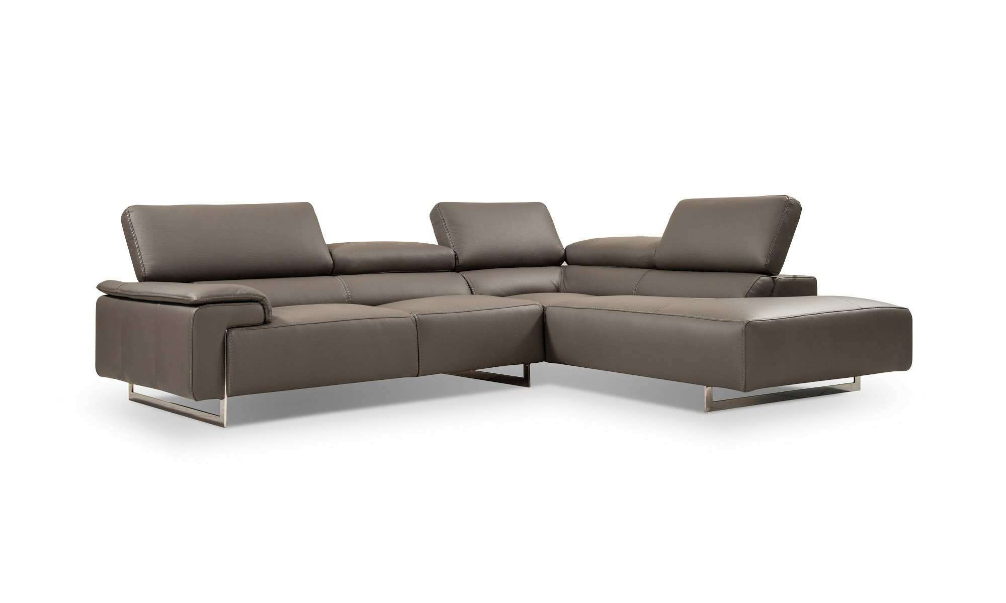 Classic Leather Sectional Sofa Upholstered In Italian Leather