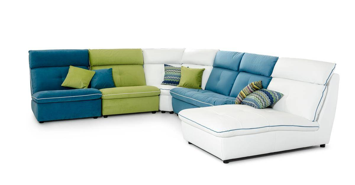 Multi Color Italian Contemporary Leather and Fabric Sectional Sofa Washington DC V-Lusso-Spritz
