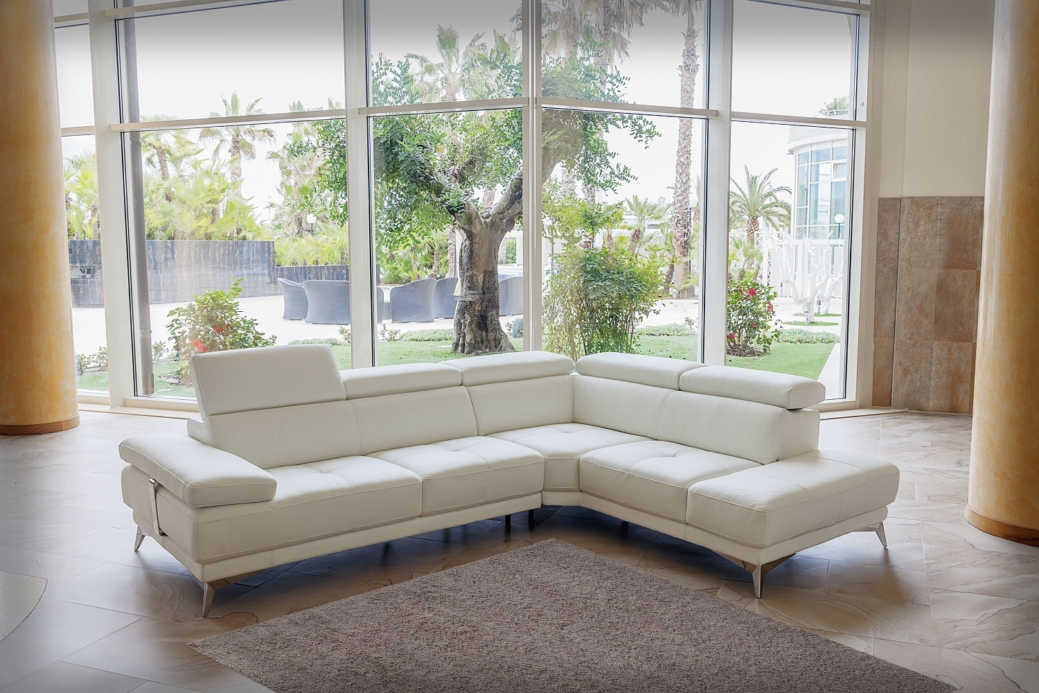 Overnice Tufted Full Italian Leather L-shape Furniture