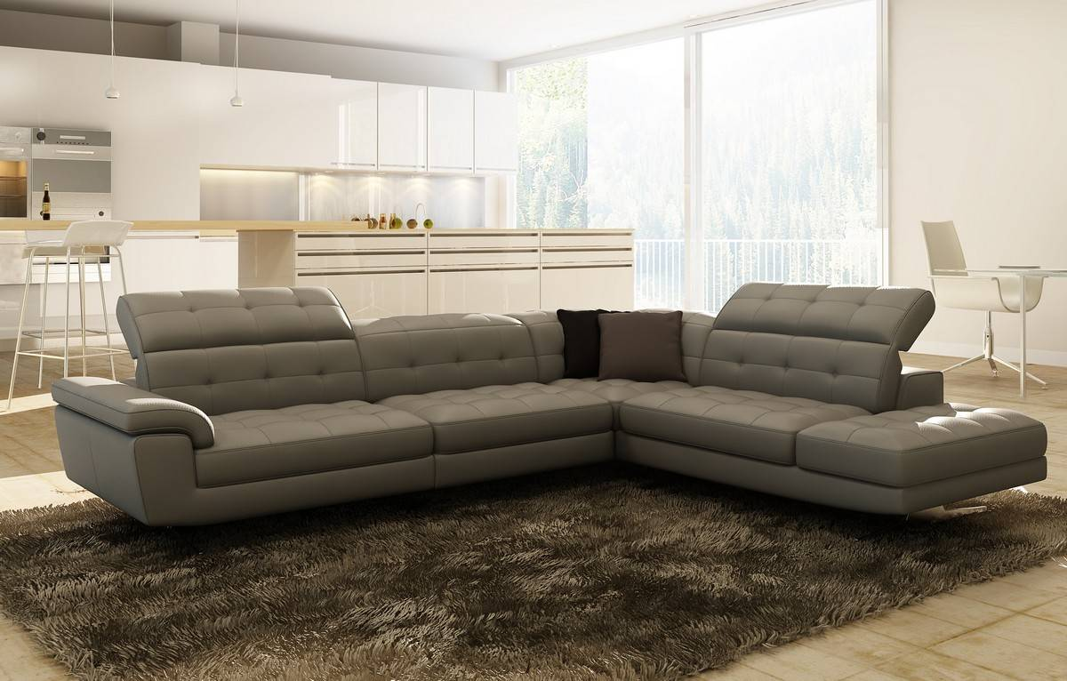 Contemporary Full Italian Leather Sectionals