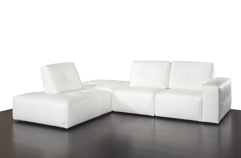 Advanced adjustable tufted top grain leather sectional in for Sectional sofas honolulu