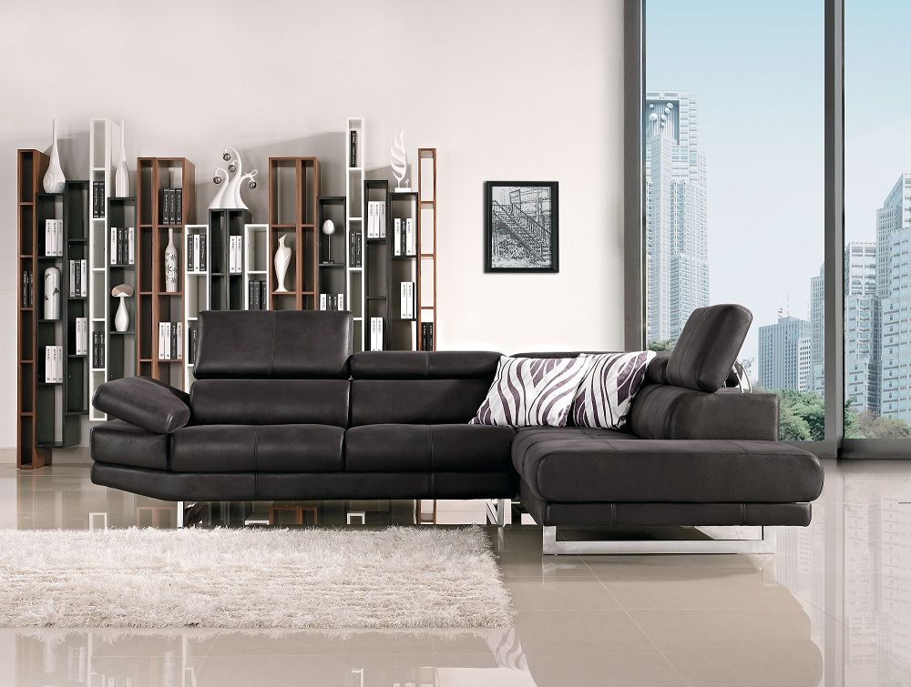 Italia Contemporary Black Fabric Sectional with Adjustable Headrests