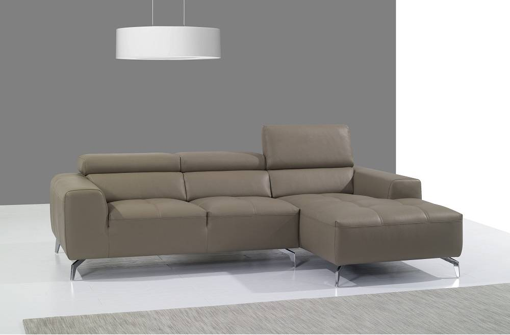 Beige Italian Leather Upholstered Contemporary Sectional