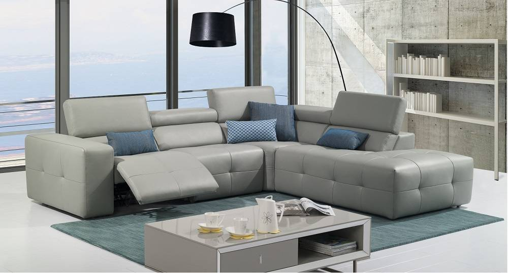 Grey Italian Leather Tufted Sectional With Recliner