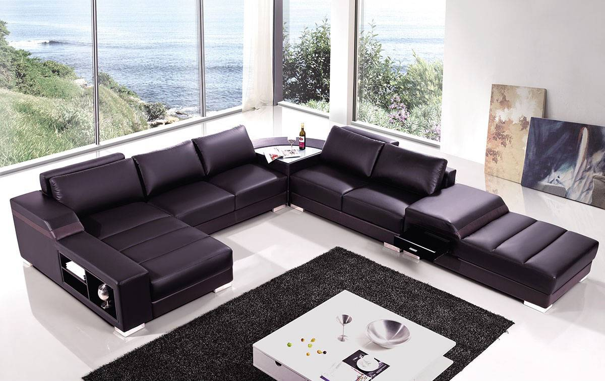 High end covered in bonded leather sectional philadelphia for Brown leather chaise end sofa