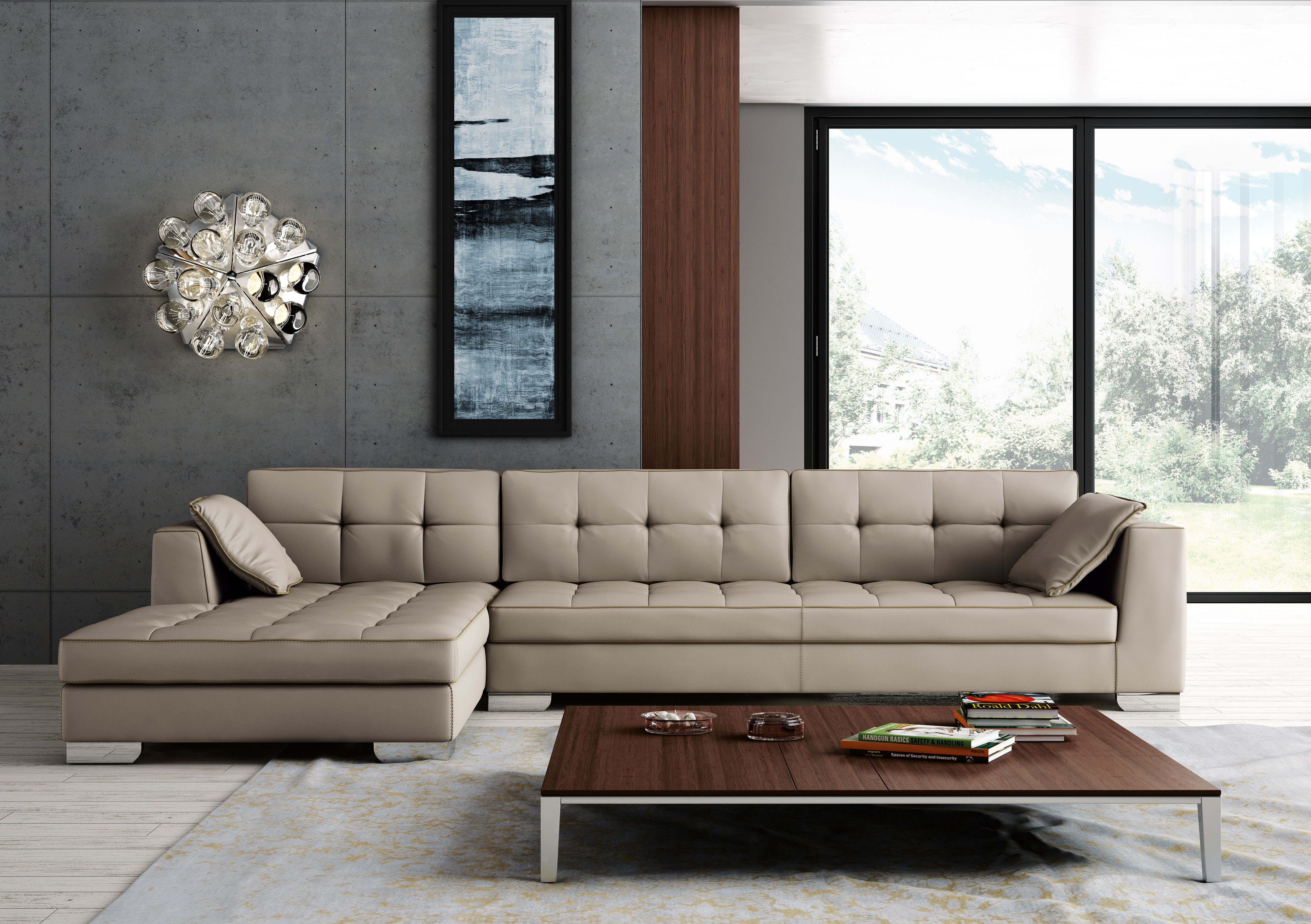 Luxury Tufted Designer All Leather Sectional