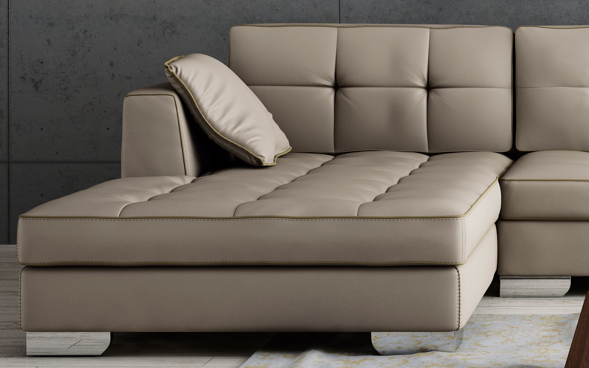 Luxury Tufted Designer All Leather Sectional Chesapeake