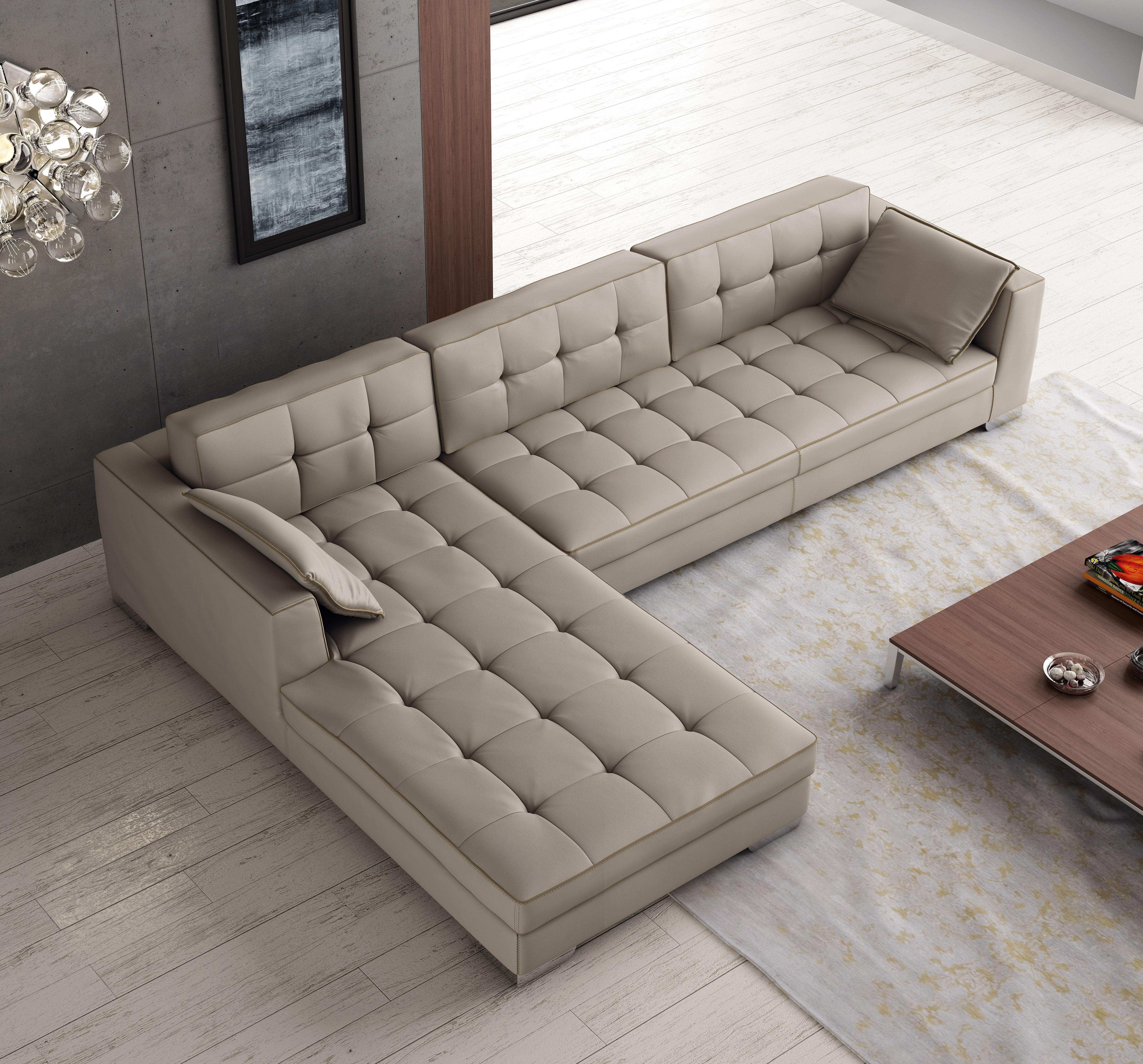 Sectional Sofa Design Leather: Luxury Tufted Designer All Leather Sectional Chesapeake