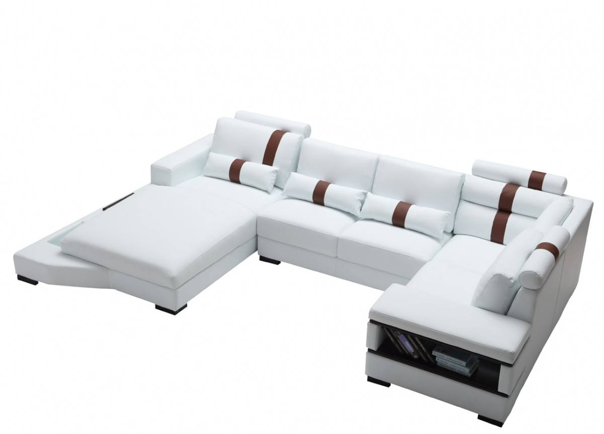 Graceful All Real Leather Sectional with Pillows - Click Image to Close