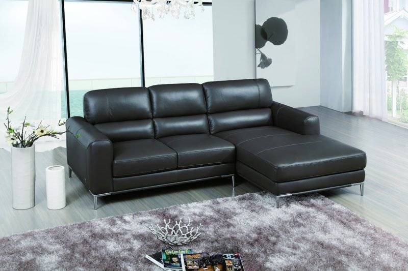 Bone Colored Top Grain Leather Sectional Sofa with Chrome Legs