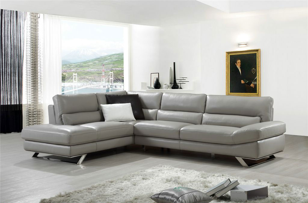 Elegant Covered in All Leather Sectional Honolulu CDP  : light grey extra padded modern sectional sofa e l483 from www.primeclassicdesign.com size 1024 x 676 jpeg 97kB