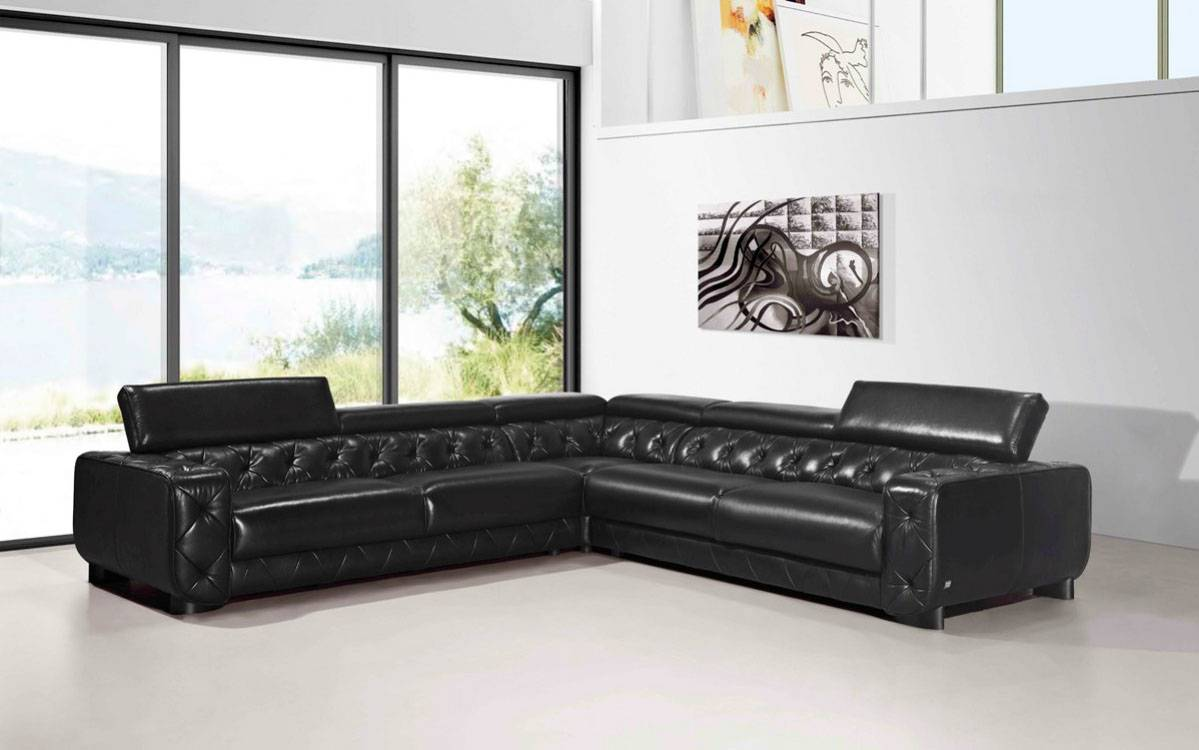 Large Contemporary Black Tufted Genuine Leather Sectional Sofa Las ...