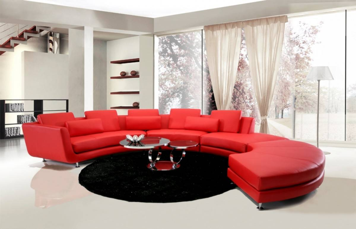 Luxury Italian Top Grain Leather Sectional Sofa In Red