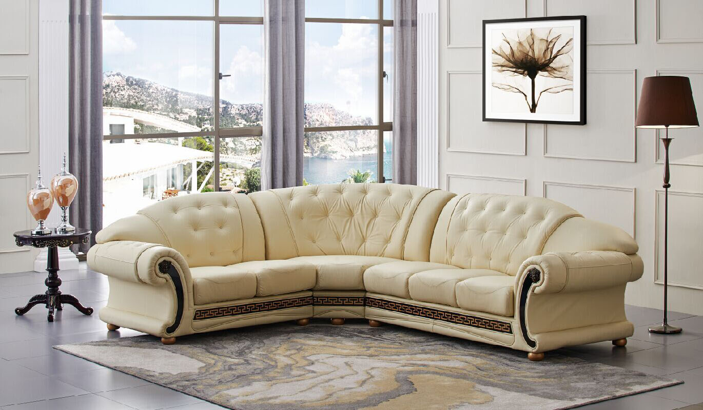 Baroque Style Sectional Set With Button Tufted Seats