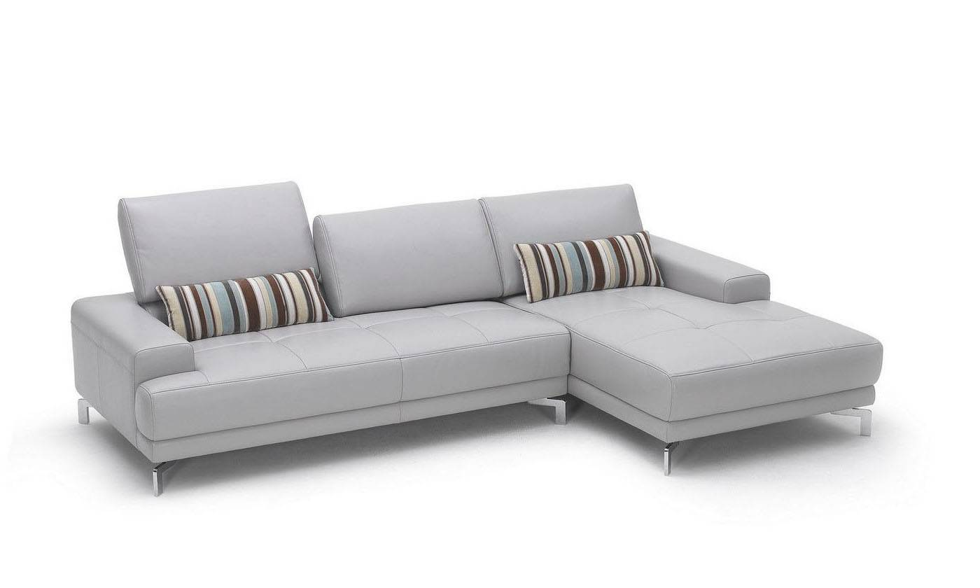 Sleek white contemporary sectional sofa with side pouches Small modern sofa