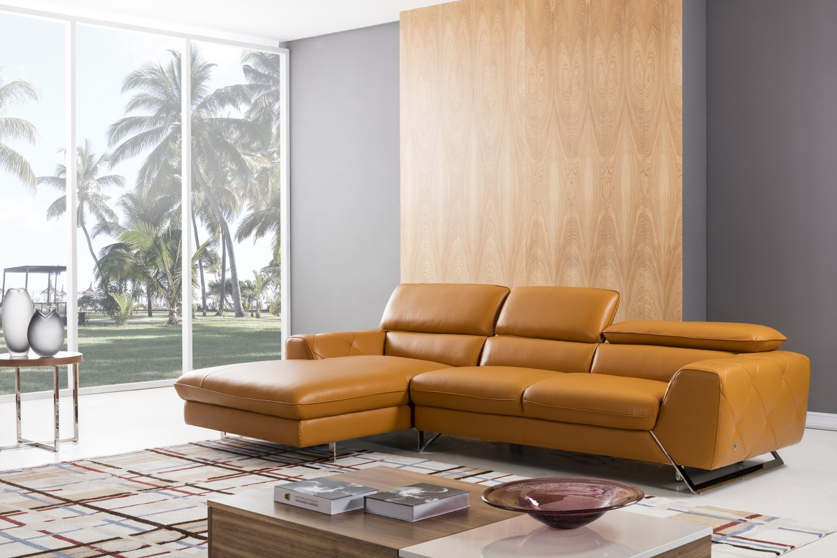 Luxury Italian Top Grain Leather Sectional Sofa Stamford