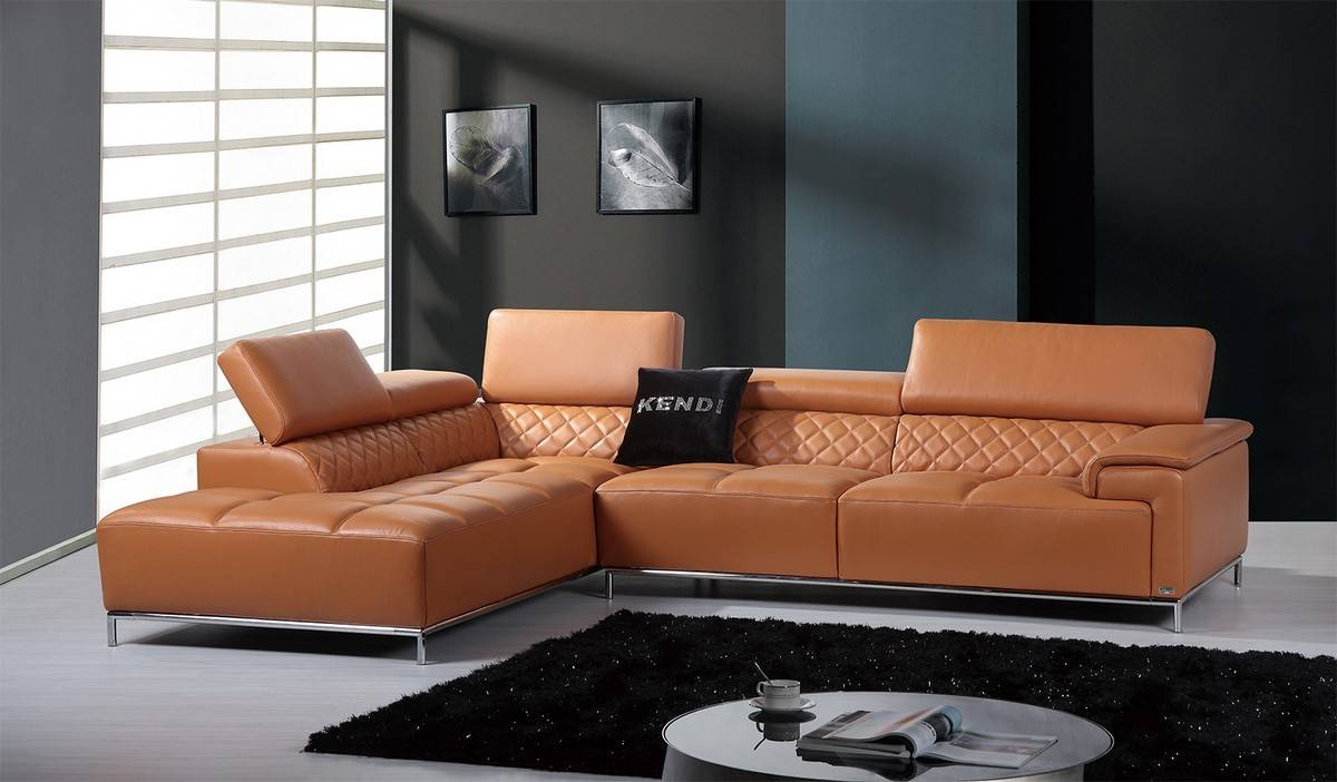 Elegant Full Italian Leather Sectionals New Haven