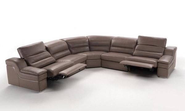 Sku 65365 Brown Soft Italian Leather Sectional Sofa