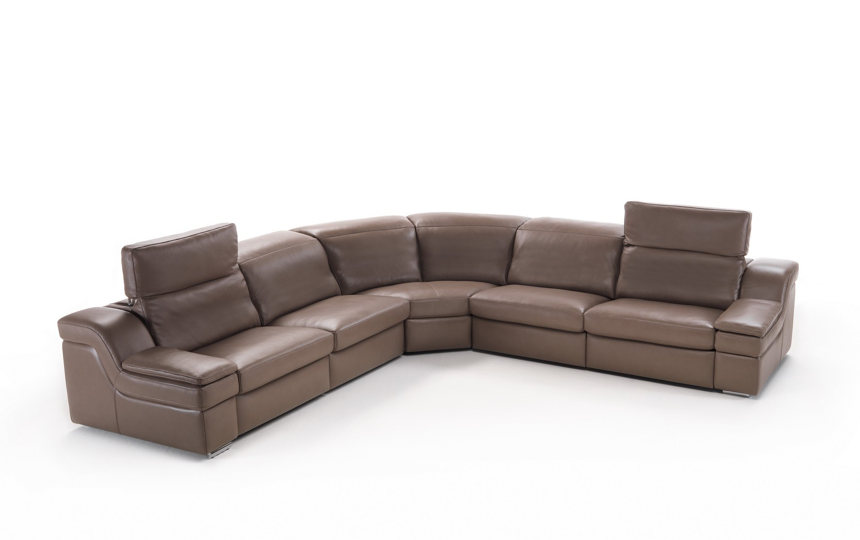 Brown Soft Italian Leather Sectional Sofa With Reclining