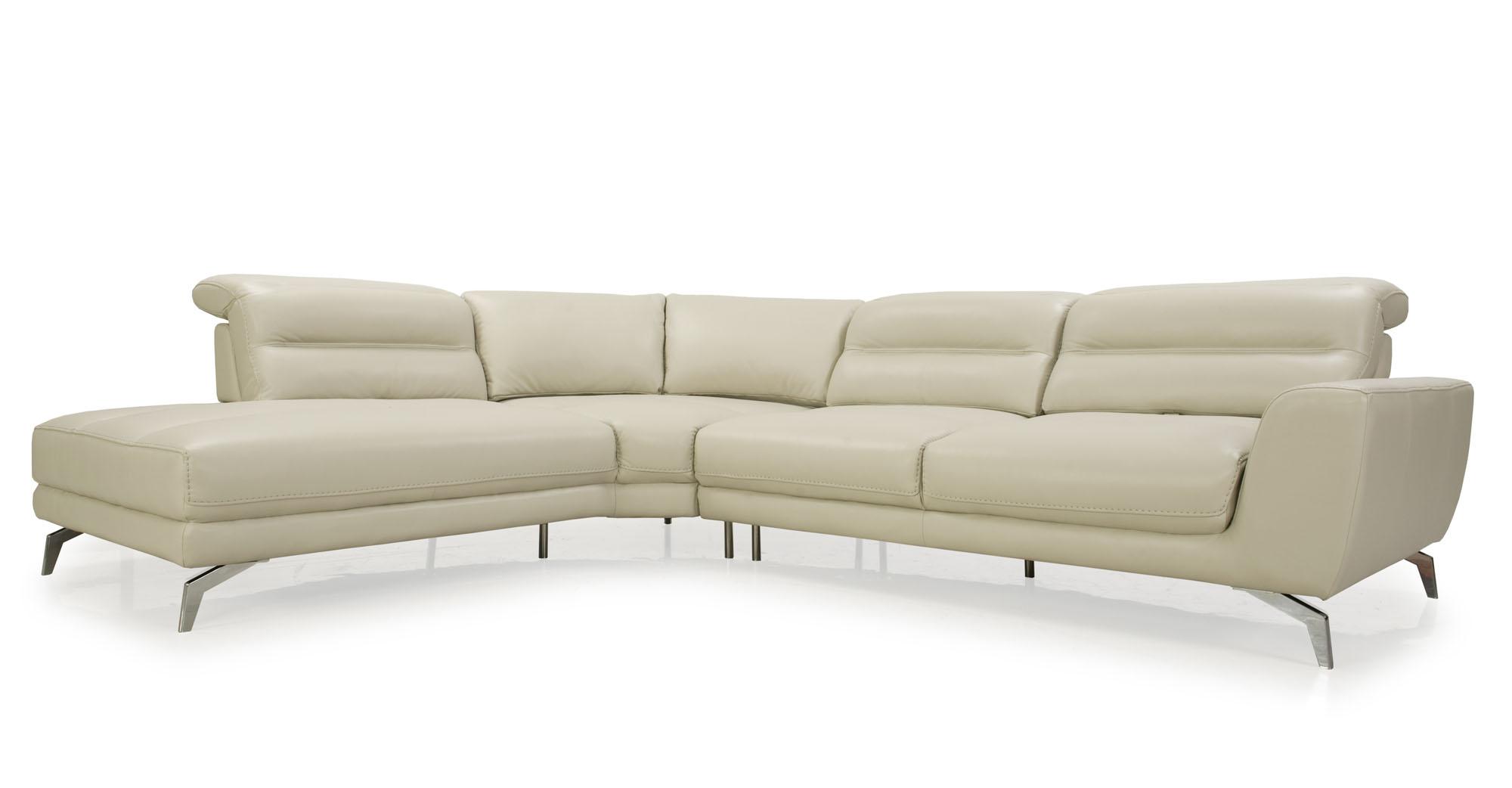 Advanced adjustable top grain leather sectional savannah for Sectional sofa depth