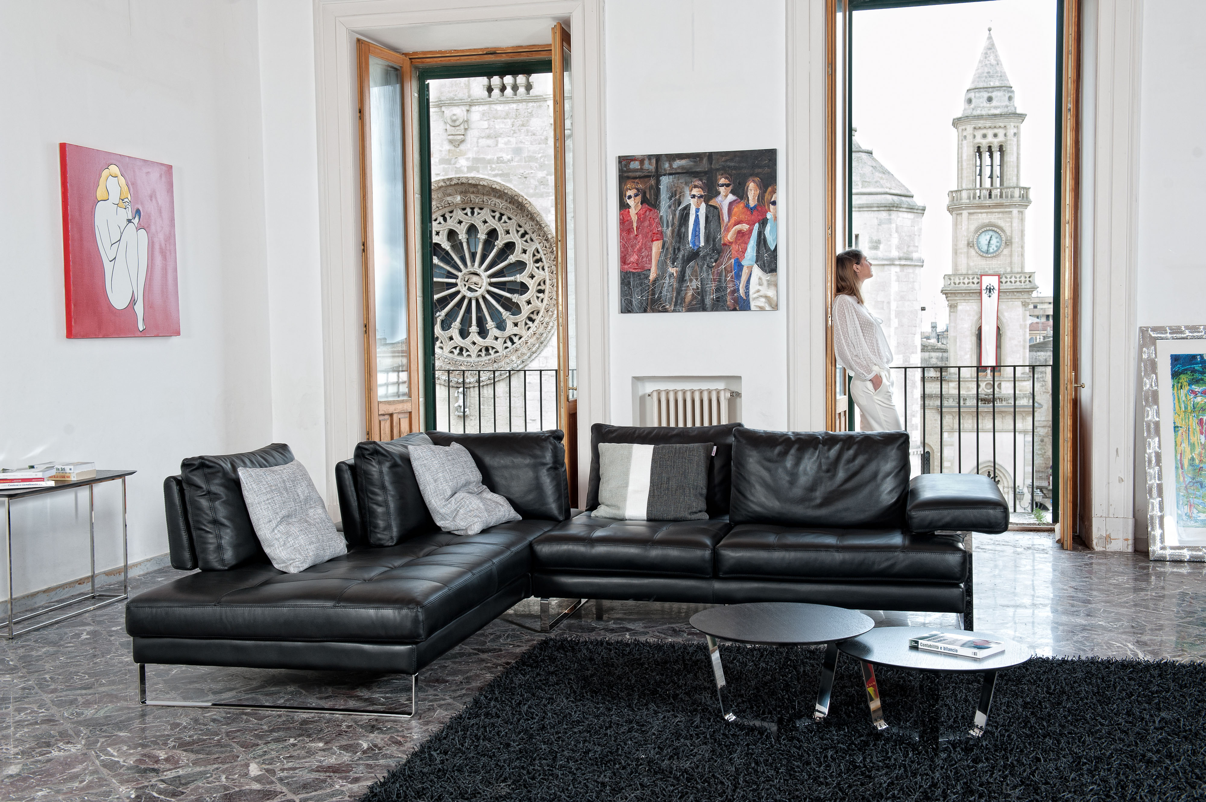 Overnice Full Italian Leather Sectionals with Pillows