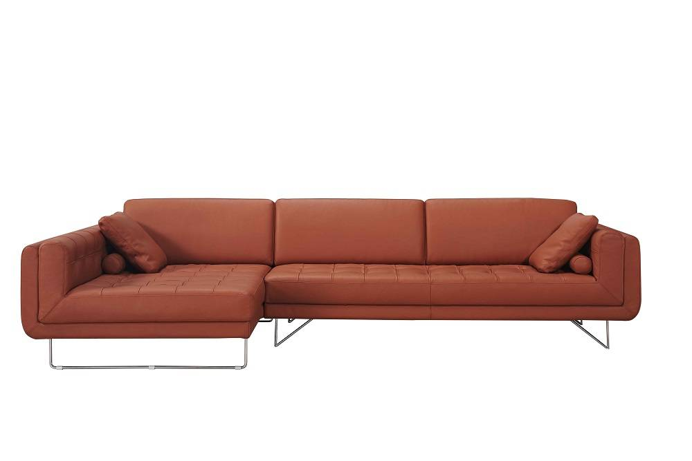 Pumpkin italian leather sectional sofa with throw pillows for Italian leather sofa